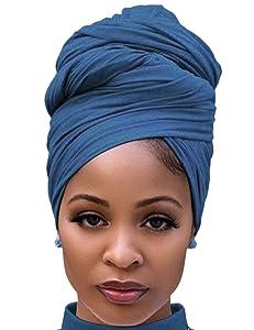 Headscarf for Black Women Fashion Long Stretch Jersey Turban Hair Wrap for Dreadlocks Denim Blue