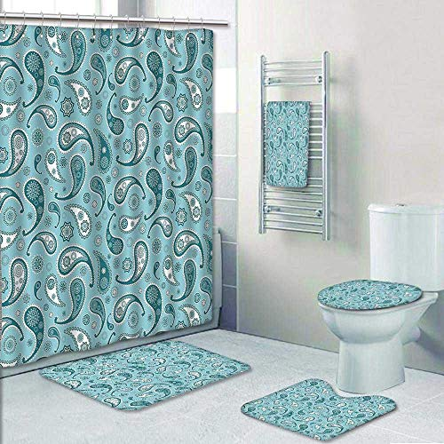 5-Piece Bathroom Set-Includes Shower Curtain Liner, Bathroom Rugs and Bath Towel,Islamic Arabian Inspired Pattern with Rounded Modern Ornaments Design White and Blue Decorate The Bath by AmaPark