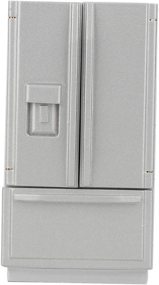 Tnfeeon 1:12 Dollhouse Miniature Accessories Refrigerator, High Simulation Kitchen Prop Delicate Model Dollhouse Decor(Gray)