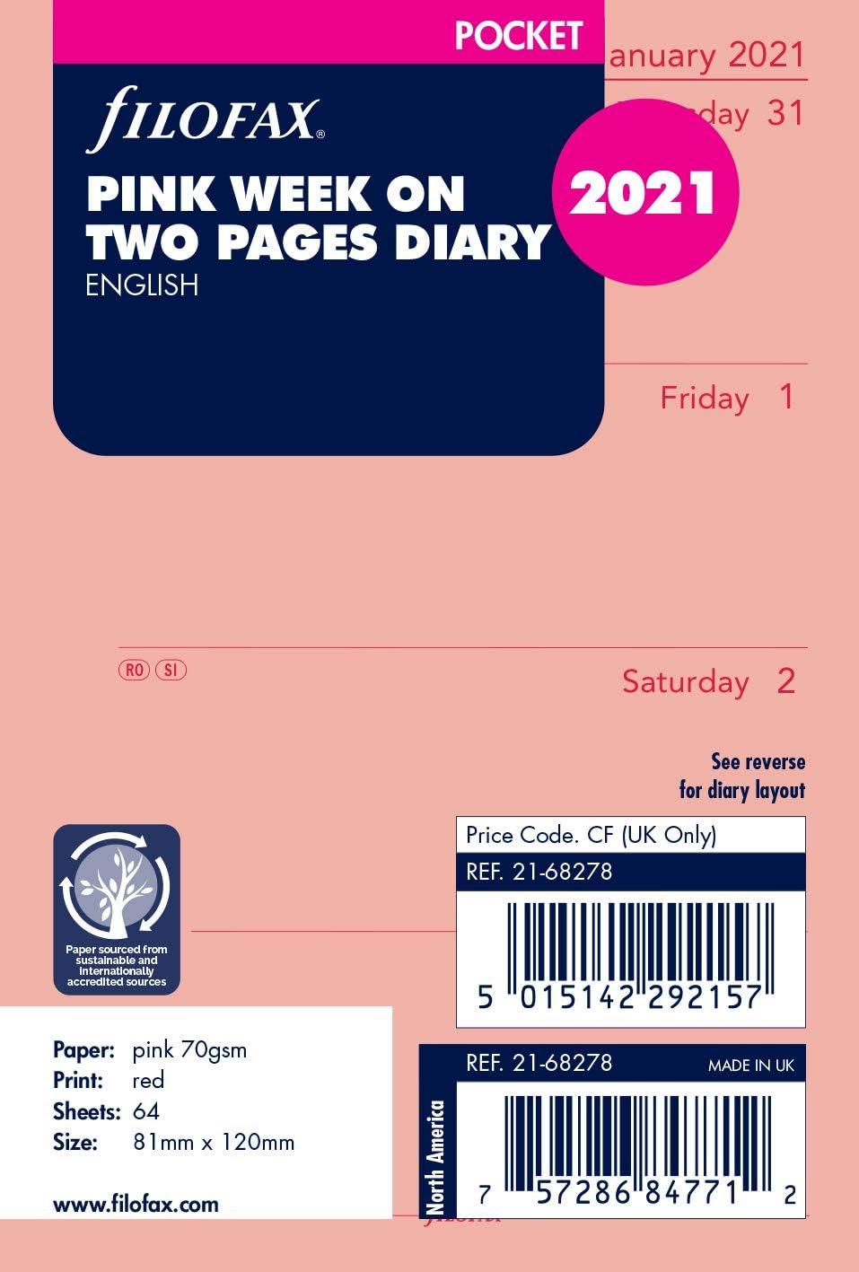 rosa colore Ricarica settimanale tascabile su due pagine Filofax 2021