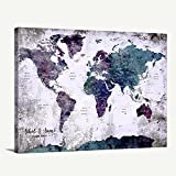 Custom World Map Canvas Print - World Map Push Pin Travel Map Wall Art Canvas Print - Personalized Alternative Wedding Guest Book Canvas Print - Adventure World Map Canvas Print