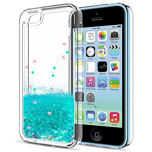 iPhone 5C Case,iPhone 5C Liquid Case with HD Screen Protector for Girls Women,LeYi Cute Design Shiny Glitter Moving Quicksand Clear TPU Protective Phone Case Cover for Apple iPhone 5C ZX Turquoise