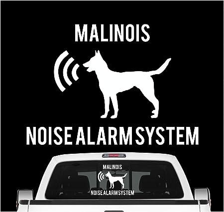 Siviwonder Malinois Noise Alarmsystem Auto Aufkleber Hund Folie Belgian Mali Berger Farbe Weiß Größe 10cm Auto