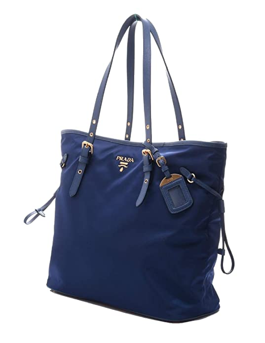 7e5332780974 Amazon.com: Prada Tessuto Saffiano Royal Blue Nylon and Leather Trim Shopping  Tote Bag 1BG997: Shoes