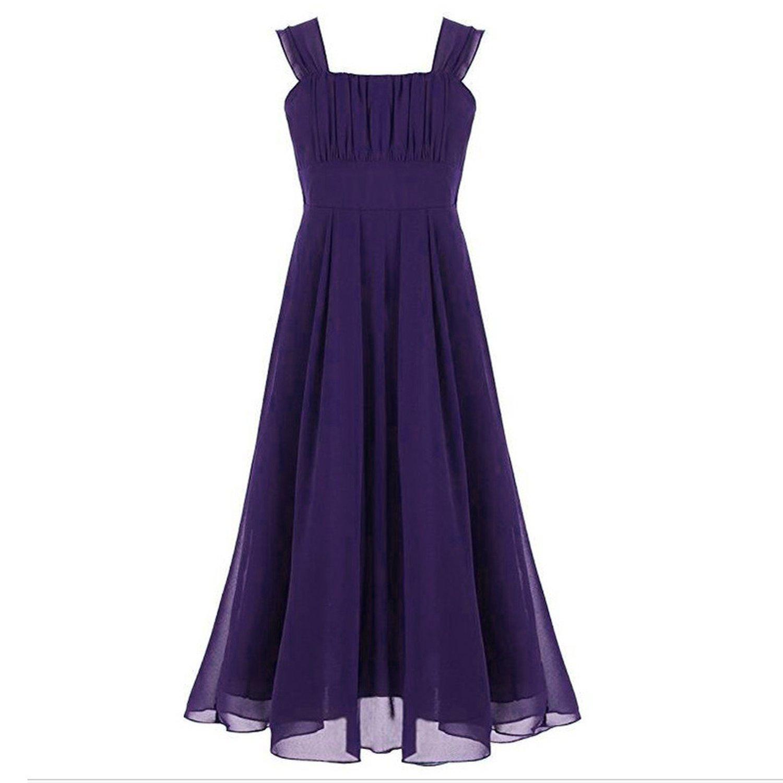 Toping Fine girl dress Chiffon Draped Floor-Length Girls Summer Wedding Dress Elegant Girls Evening Dress,Dark Purple,Child-14