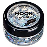 Holographic Chunky Glitter by Moon Glitter – 100% Cosmetic Glitter for Face, Body, Nails, Hair and Lips - 0.10oz - Silver