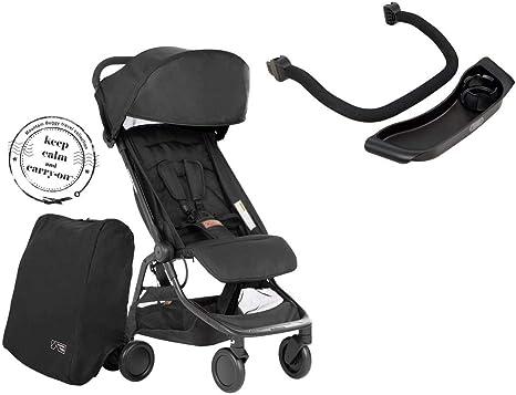 Opinión sobre Mountain Buggy Nano V3 (2020+) Cochecito en color negro, incluye bolsa de viaje, asa y bandeja.
