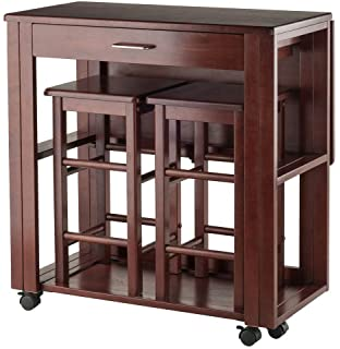 Space saver kitchen tables White Winsome Wood 3pc Space Saver Set In Walnut Finish Kitchen Ideas Amazoncom Winsome Space Saver With Stools Square Kitchen Dining