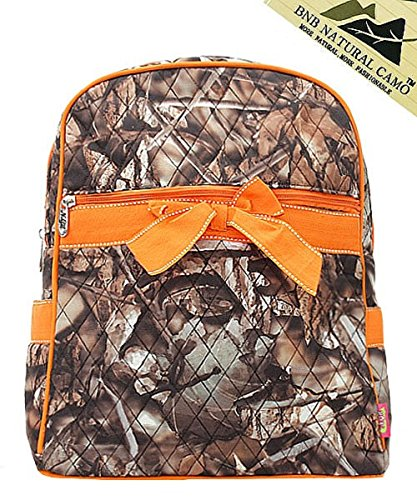 BNB Natural Camouflage Print Quilted Backpack Handbag with Bow Accent (Camo Purses Cheap)