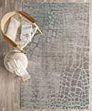 Safavieh Valencia Collection VAL204C Grey and Multi Distressed Abstract Silky Polyester Area Rug (5' x 8')