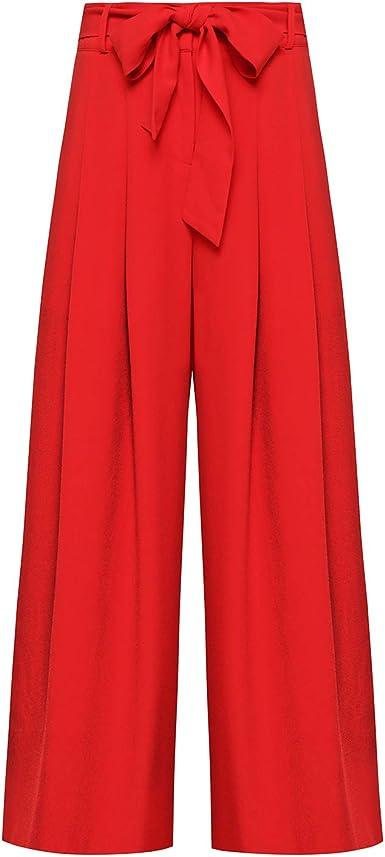 Amazon Com Pantalones De Vestir De Cintura Alta Con Cinturon De Tela Para Mujer Color Rojo Clothing