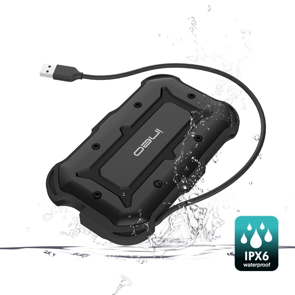 USB 3.1 Type-A to SATA III Carcasa para disco duro 2.5 inch externo – ElecGear IPX6 IP6X A prueba de golpes Impermeable resistente al agua Adaptador ...