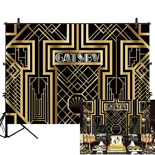 Allenjoy 7x5ft Great Gatsby Theme Birthday Party Photography Backdrop and Studio Props 1920s Black Gold Art Event Decoration Banner Background Newborn Baby Shower Photo Shoot Booth -