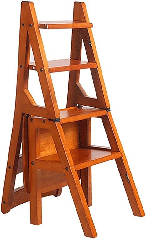 ZENGAI Escalera Madera Escalera Silla Escaleras Silla Escalera En Madera Utilidad De Madera Paso Escalera Plegable 4 Pasos Biblioteca# (Color : A): Amazon.es: Hogar