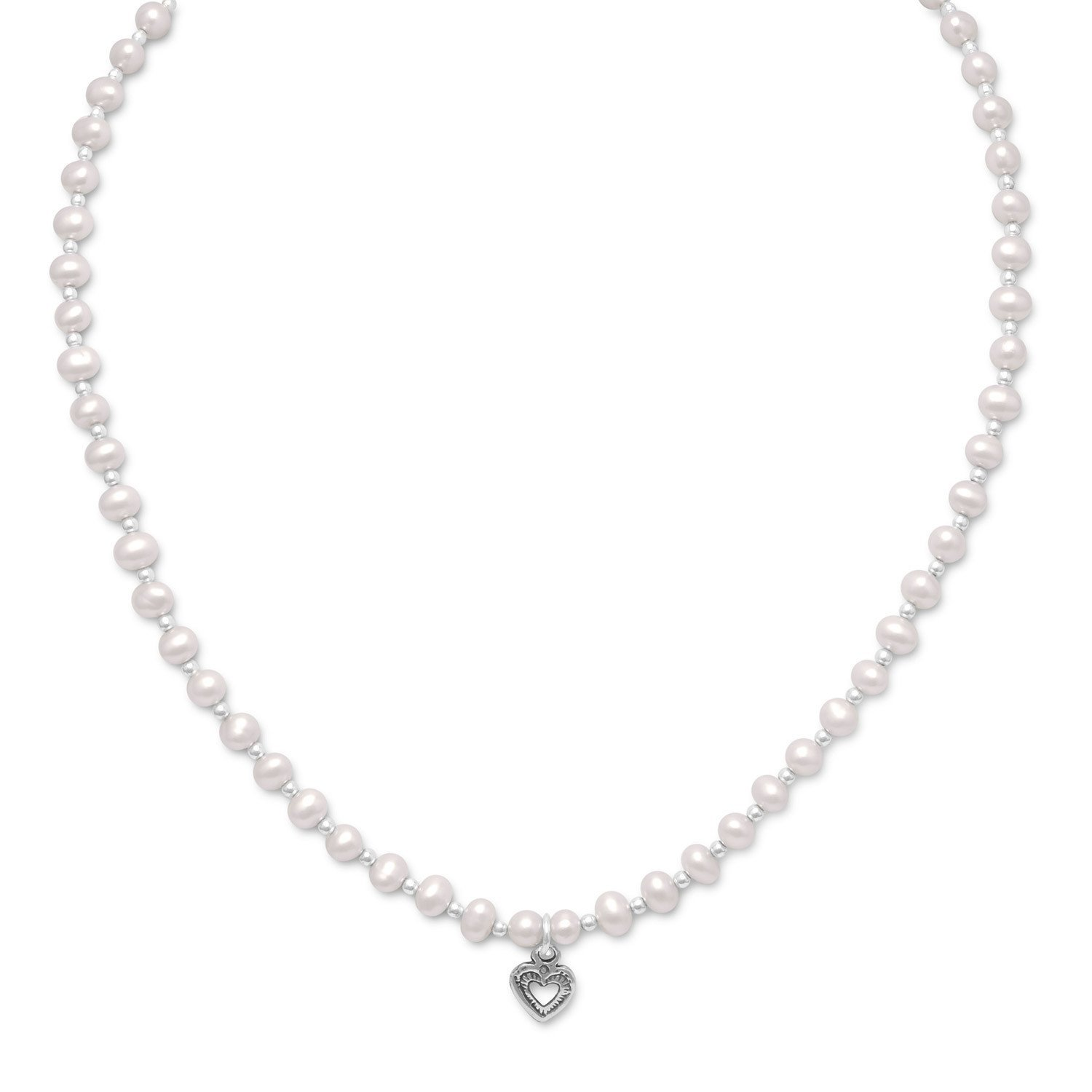 """13""""+2"""" Extension Cultured Freshwater Faux Pearl/Silver Bead Necklace with Oxidized Heart"""