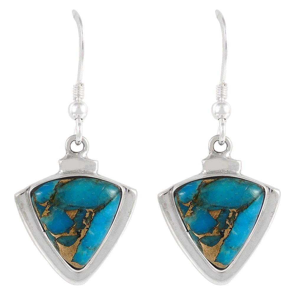 Turquoise Earrings 925 Sterling Silver Genuine Turquoise Jewelry (SELECT from different styles) (Triangles)