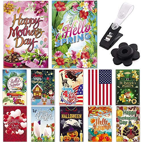 """Season Garden Flags - Set of 12 Garden Flags - Double Sided Outdoor Holidays Yard Flags - Made of Polyester with Anti-Wind Clip & Rubber Stopper Included – Holidays Flags for 12 Months - 12""""x18"""" Size -"""