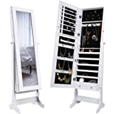 LANGRIA Lockable Jewelry Cabinet Free Standing Jewelry Armoire Organizer Full Length Mirrored, 2 Drawers, 3 Angle Adjustable Organizer Storage for Rings, Earrings, Bracelets, Broaches, White Finish