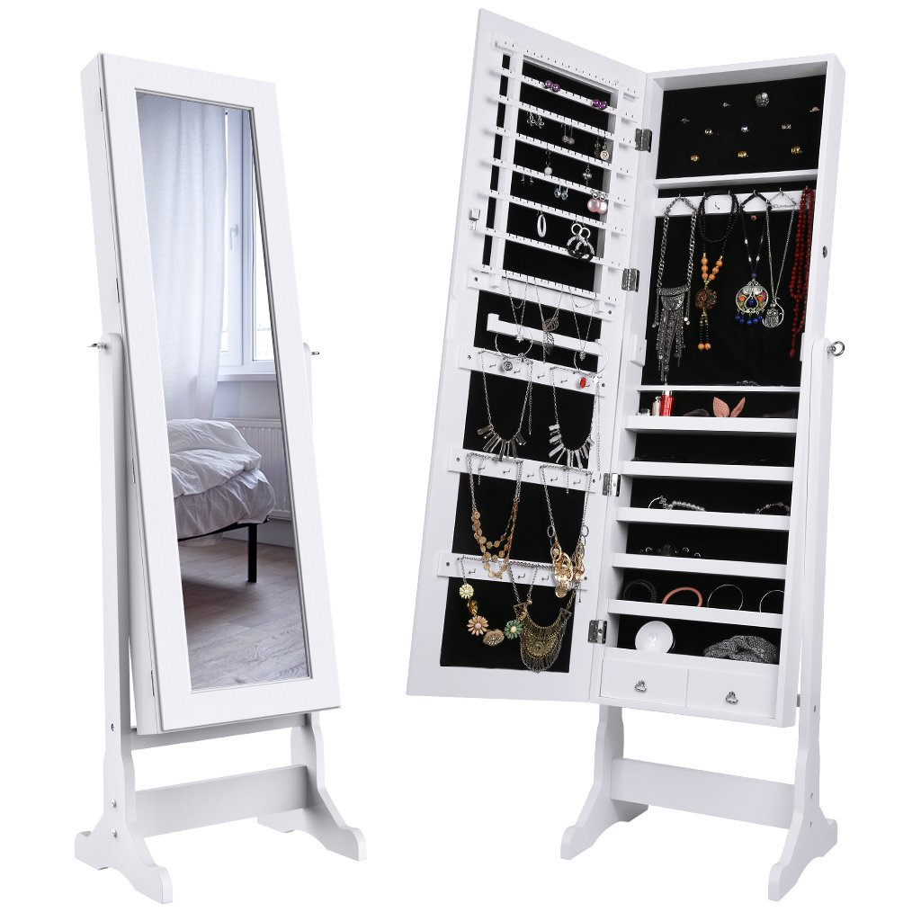 LANGRIA Mirrored Jewelry Cabinet Organizer, Full Length Standing Jewelry Storage Armoire with 2 Drawers and 3 Adjustable Angle, White Finish by LANGRIA (Image #1)