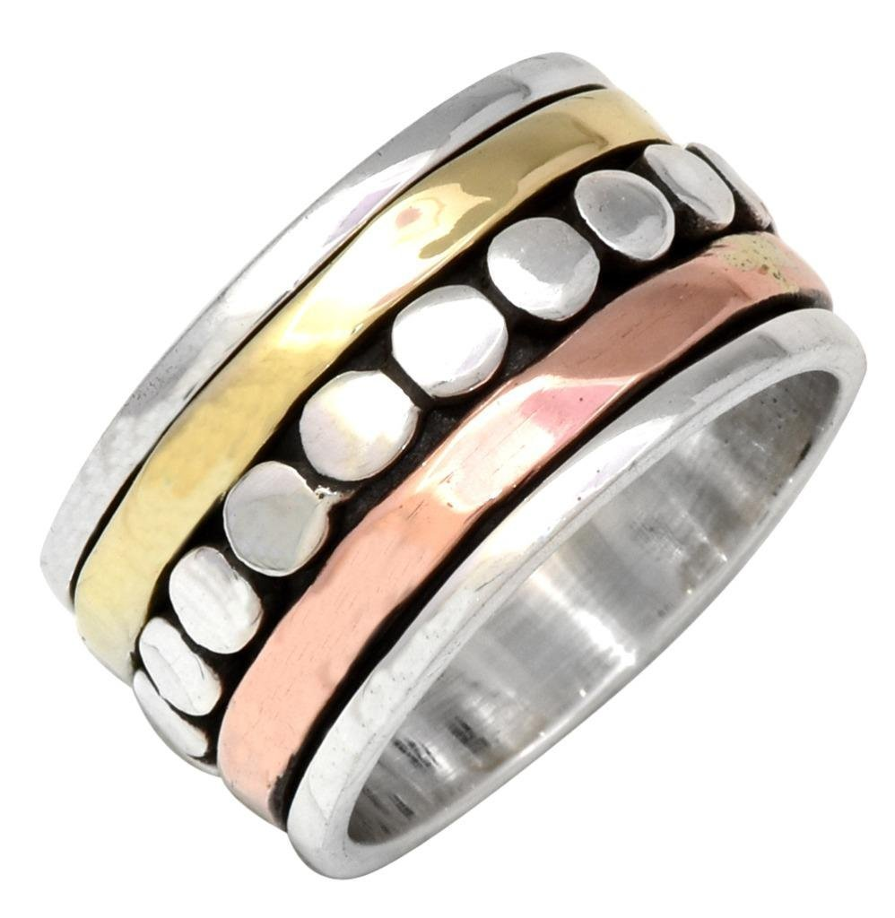 YoTreasure 925 Sterling Silver Brass Copper Spinning Rings Silver Jewelry