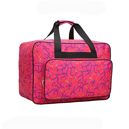 Sewing Machine Tote Bag, HomeYoo Universal Nylon Carry Bag, Universal Padded Storage Cover Carrying Case with Pockets and Handles (Fuchsia)
