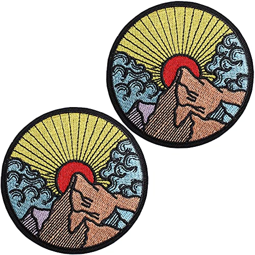 J.CARP Sunrise in The Mountain Outdoor Explore Patch Embroidered Iron On / Sew On Emblem, 2 Pieces