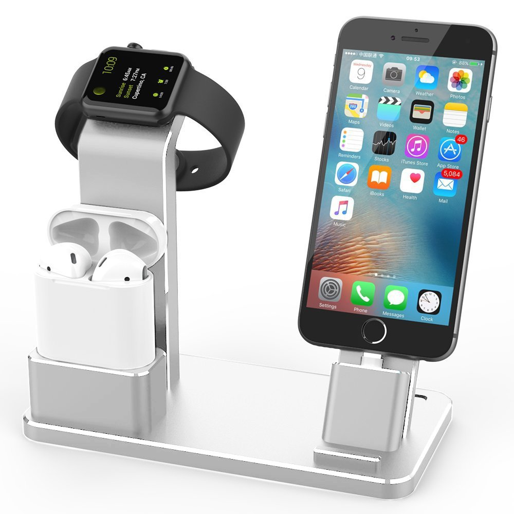 Marstree Aluminum Charging Stand Compatible for Apple iWatch/iPhone/AirPods Charging Dock, 4 in 1 Multifunction Charging Station Dock Desktop Holder,Silver by Marstree
