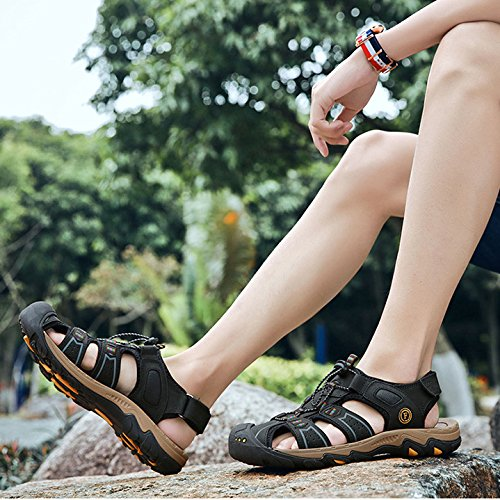 Mens Summer Leather Sports Walking Sandals Closed-Toe Trekking Hiking Shoes Comfy Footwear Beach Outdoor Shoes Black znSwO4C