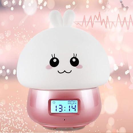 Kawaii Diseño de dibujos animados lindo Reloj despertador multifuncional Despertar Luz de noche Control remoto Lámpara de luz de grabación de escritorio ...
