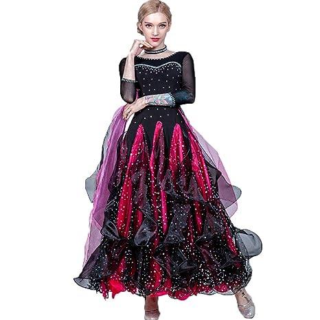 Mujeres Vestidos de Competencia de Baile de salón Falda Plisada ...