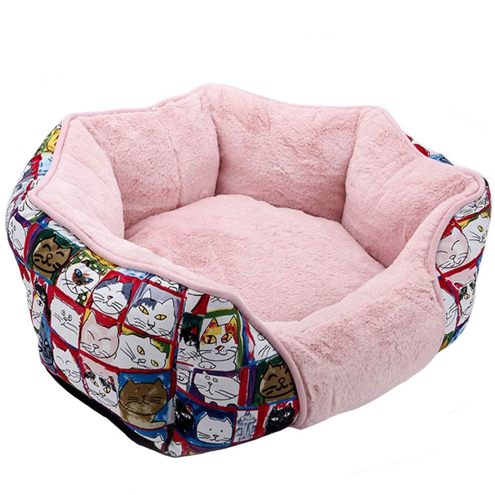 E M E M Kennel, Pet Mattress Winter Thick Warm Cotton Velvet Soft Square Pet Nest Dog Cat Litter Mattress to Promote Pet Deep Sleep,E,M