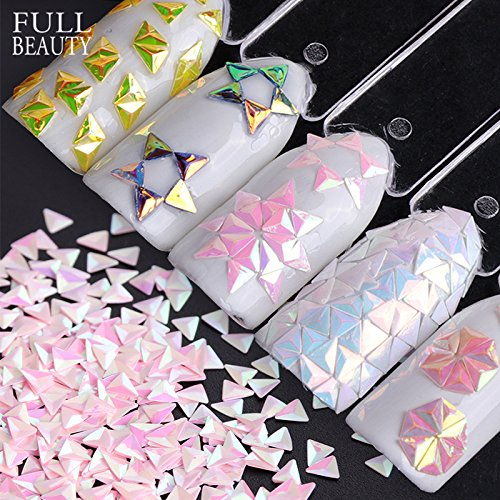 POYING Full Beauty 1g Holo 3D Super Shiny Triangle Paillette Nail Art Decorations AB Chameleon Nail Glitter Sequins CH01-12 by POYING