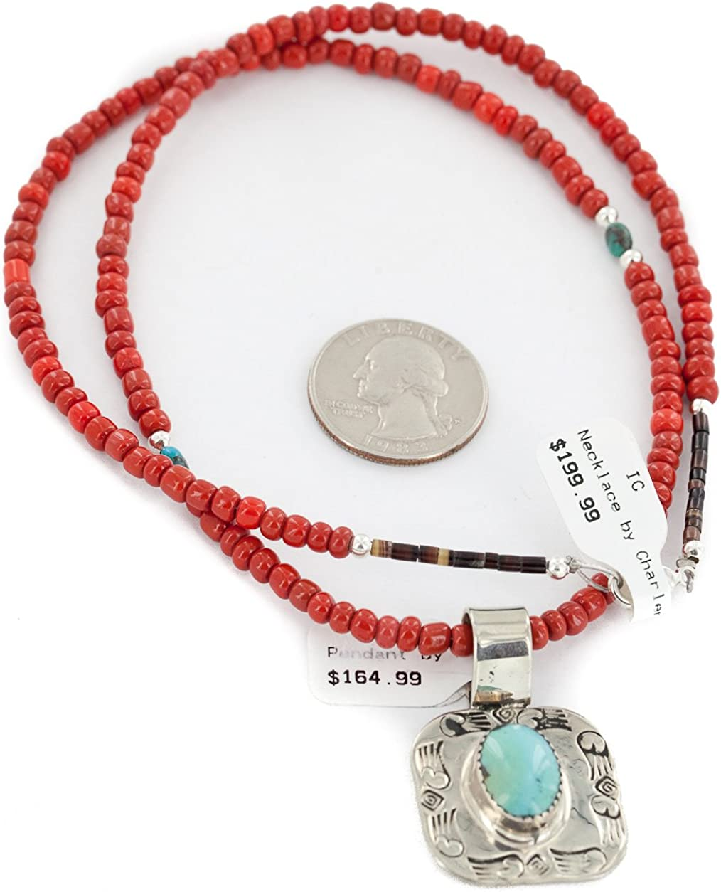 Native-Bay $365Tag Silver Nickel Certified Navajo Turquoise Coral Necklace 12811-3-16083-8 Made by Loma Siiva