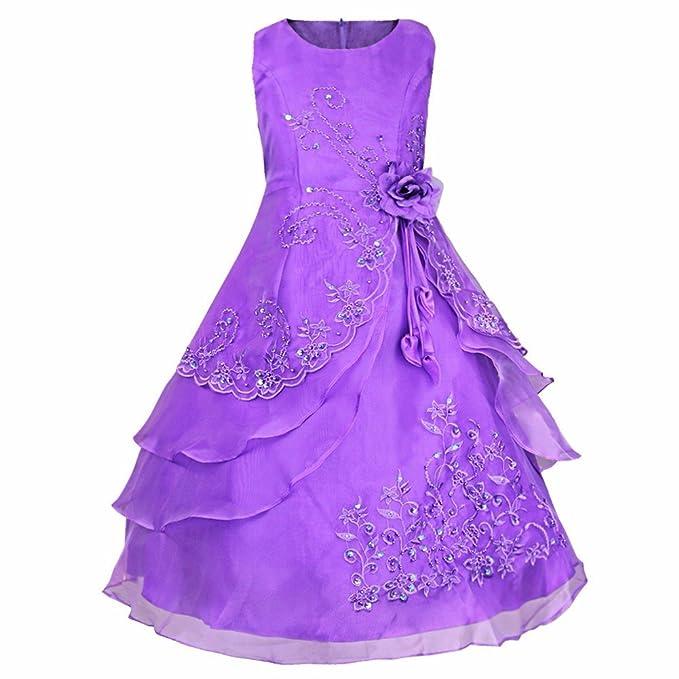 2a118c9fc iEFiEL Kids Girls  Embroidered Sleeveless Flower Girl Wedding Dress ...