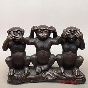 Three Monkey Statue, Hear-no, See-no, Speak-no Evil Animal Sculpture, Three Truths of Man Figure, polyresin, Bronze Finish Black 20x5cm (8x2inch)