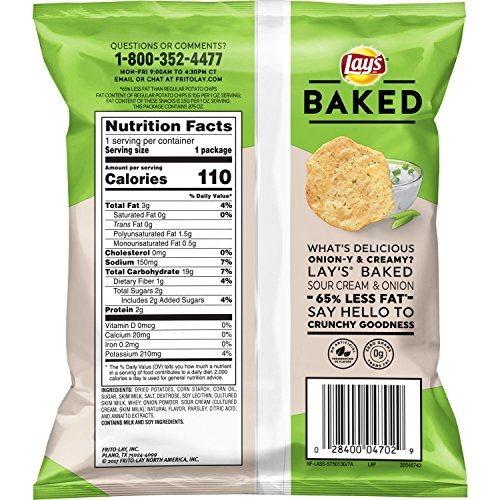 Lay's Oven Baked Sour Cream & Onion Flavored Potato Chips, .875 Ounce (Pack of 60)