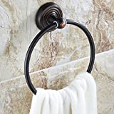 AUSWIND Classic Luxury Black Solid Brass Carved Round Base Wall Mounted Bathroom Accessories Bathroom Towel Ring