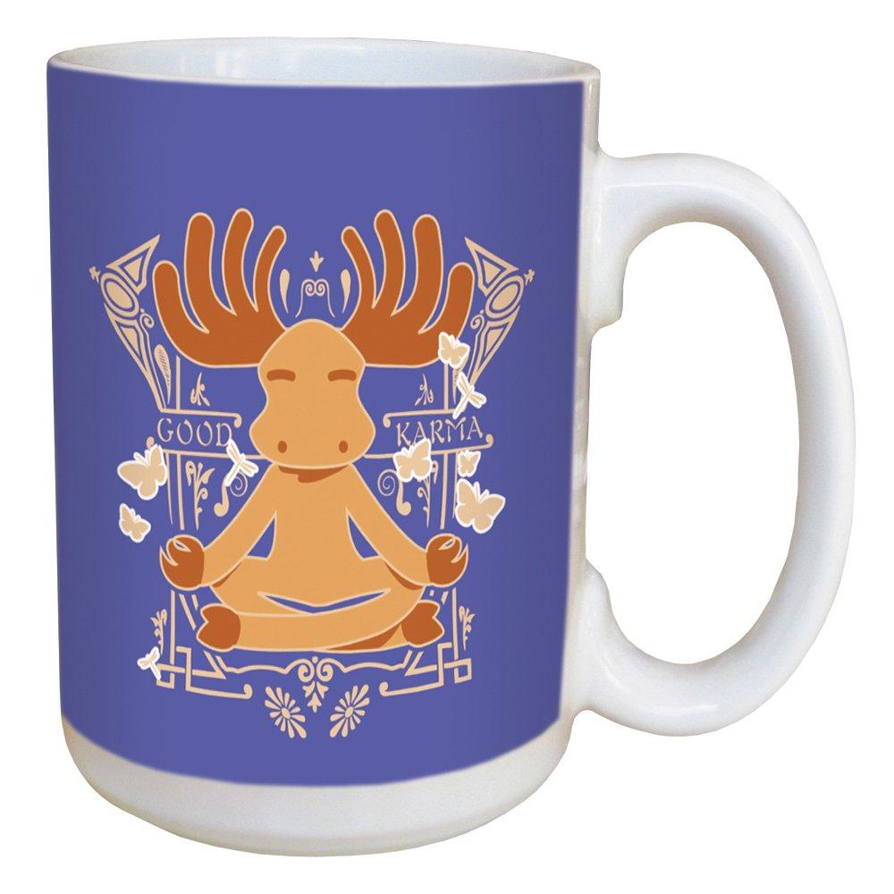 Tree-Free Greetings LM45536 Karma Moose 15 Ounce Ceramic Coffee Mug with Full Sized Handle Multicolored