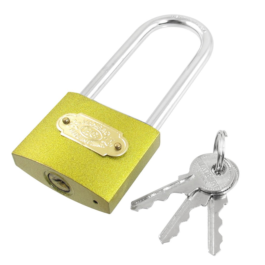 uxcell 50mm Wide Gold Tone Metal Shackle Security Long Padlock 4.5'' Height w 3 Keys