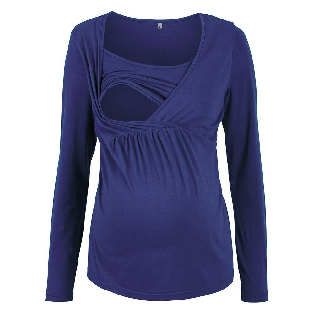 Oliveya Womens Navy Blue Breastfeeding Nursing Long Sleeve Shirt Top Clothes 3XL