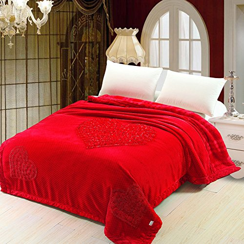 Znzbzt Wedding red blanket thick-pile carpet in winter cover wedding celebration red double blanket ,200X230-9 catty, transparent three hearts - Red by Znzbzt