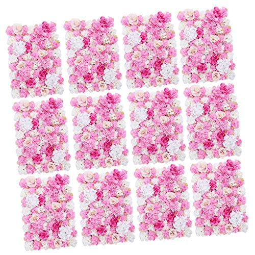 Prettyia Pieces of 12 Romantic Silk Flower Wall Panel Mat Indoor Outdoor Home Garden Hanging Wedding Venue Decor Hot Pink 40 x 60cm from Prettyia