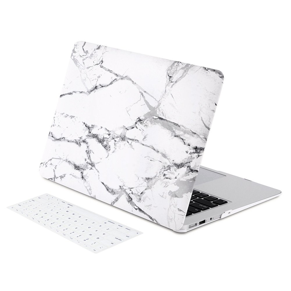 Zinmark 13 Inch Laptop Case Cover Compatible with MacBook Air 13.3 Inch A1369 / A1466, Plastic Folio Hard Cover Case - White Marble