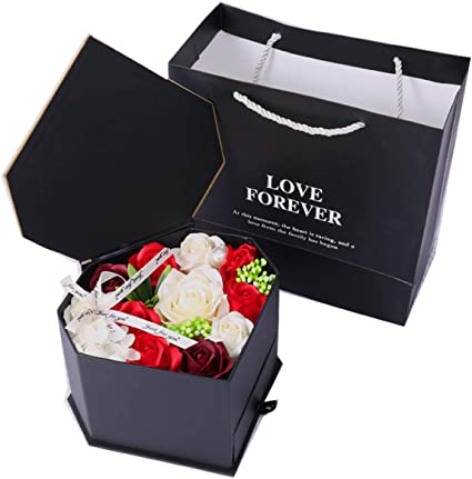 Ba/&Ba Heart Shaped Flower Box with Lid Black Anniversary Valentines Day Luxury Gift for Birthday Double Layers Rotating Drawer Gift Paper Mache Boxes with Window