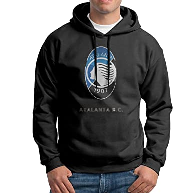Men Atalanta B.C. Logo Personalized Causal 100% Cotton Hoodies Black Size L