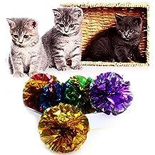 Stebcece Cat Pet Kitten Toys Shiny Crinkle Crackle Colorful Balls Lightweight