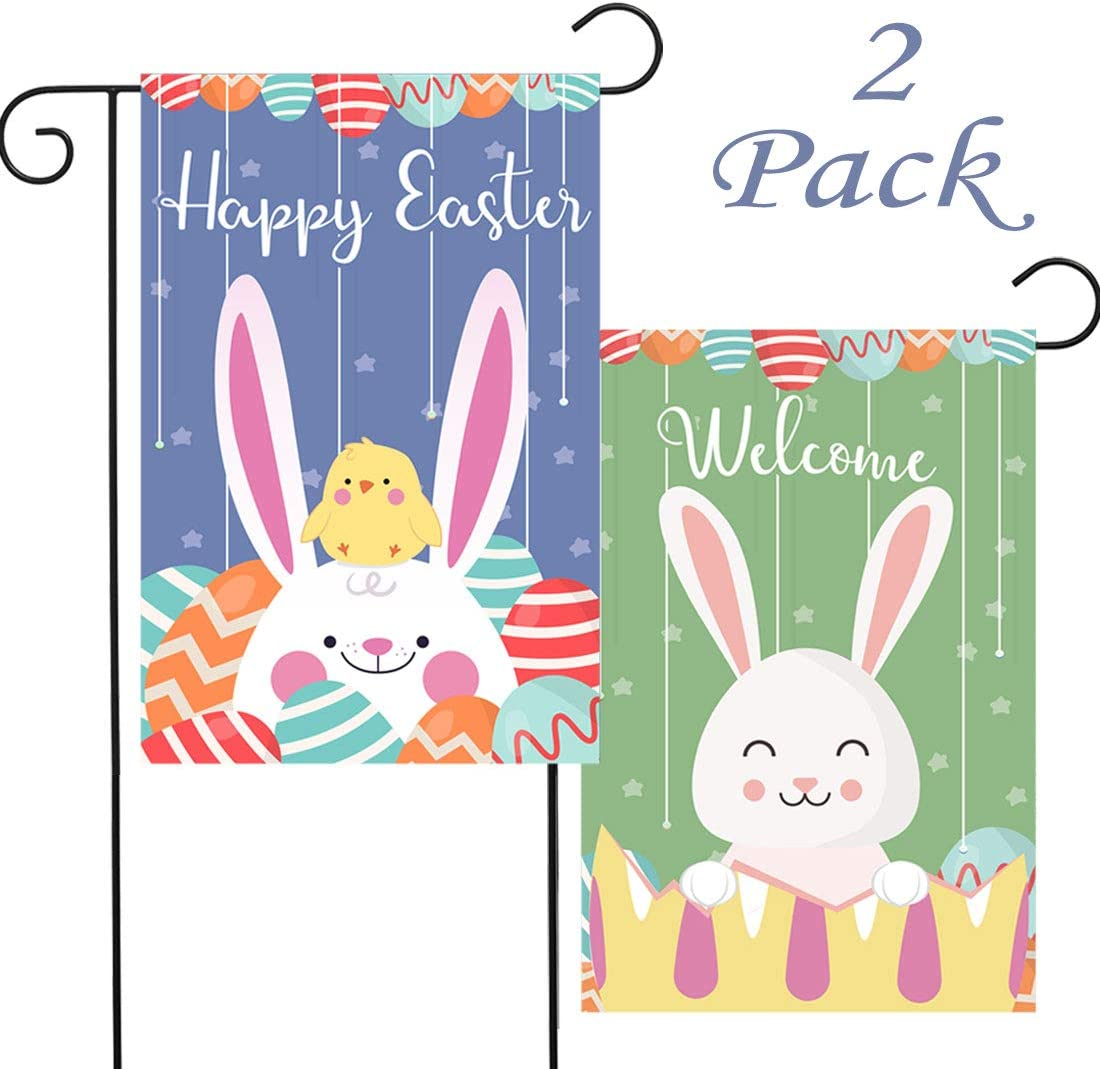 2 Pack Easter Garden Flag Double Sided Welcome House Home Outside Outdoor Yard Decoration 12.5x18 Inch Spring Rabbit Bunny Eggs Pattern