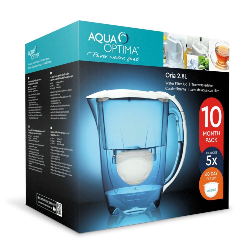 Aqua Optima 10 Month Pack - Oria Water filter jug with 5 x 60 day water filter cartridges FJ0560