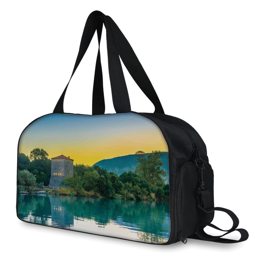 iPrint Travelling Bag,Asian,Venetian Tower Archaeological Site National Park at Sunrise Lake Sanctuary Landscape,Blue Green ,Personalized
