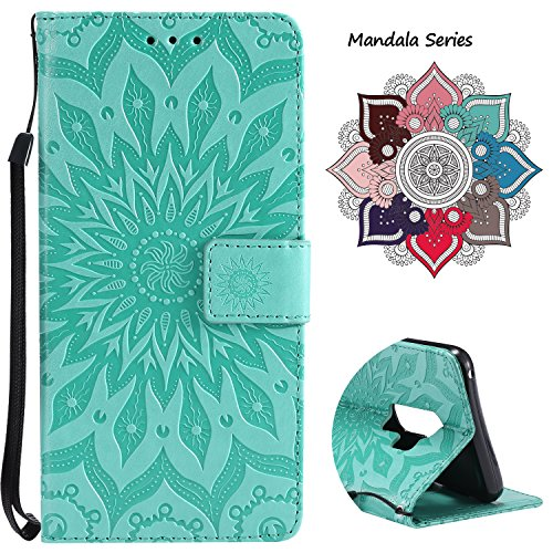 Leather Wallet Case for Samsung Galaxy S9 Plus (2018 Release), Credit Cards & Changes Holder, Colorful Art Mandala Design, Magnetic Durable Flip Cover Kickstand case for S9 Plus(6.2 inch)-Green
